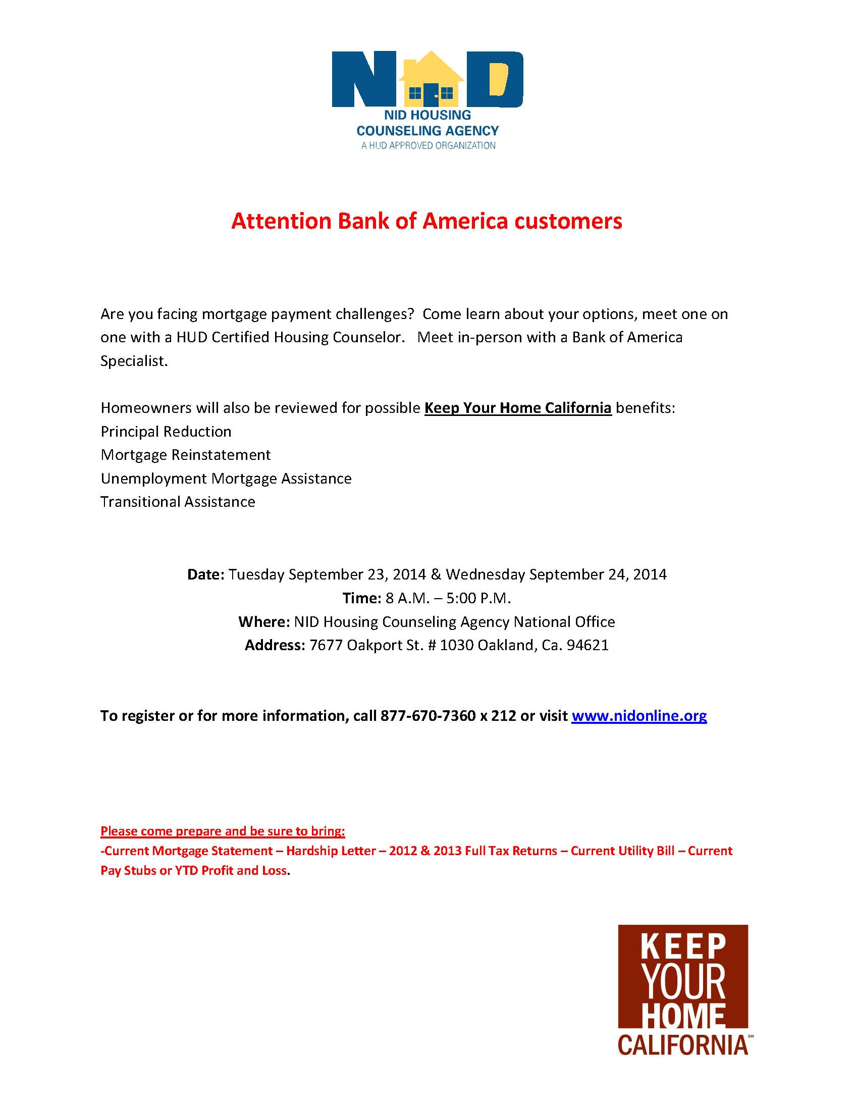 Workshop For Bank Of America Homeowners Keep Your Home California